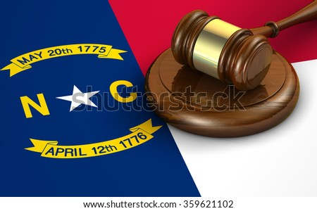 North Carolina US state law, code, legal system and justice concept with a 3d render of a gavel on the North Carolinian flag on background. - stock photo