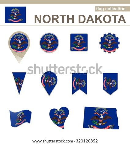 North Dakota Flag Collection, USA State, 12 versions, Rasterized Copy - stock photo