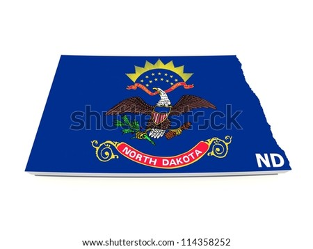 north dakota state flag on 3d map - stock photo