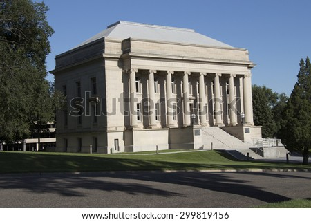North Dakota State Library on the North Dakota State Capitol Grounds, Bismarck ND - stock photo