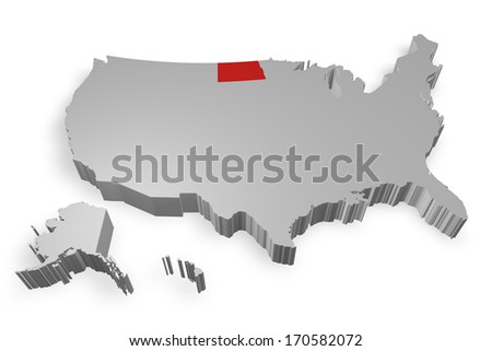 North dakota state on Map of USA 3d model on white background