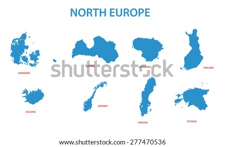 north europe - maps of territories - stock photo