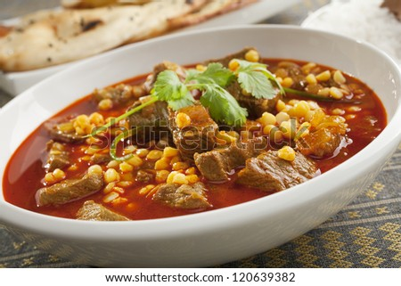 North Indian lamb curry with channa dahl, a delicious savoury curry cooked in the style of Northern India, with naan bread and basmati rice. - stock photo