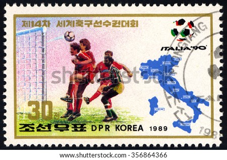NORTH KOREA - CIRCA 1989: A stamp printed by DPR Korea dedicated to 1990 FIFA World Cup Championship held in Italy shows Football Player, circa 1989