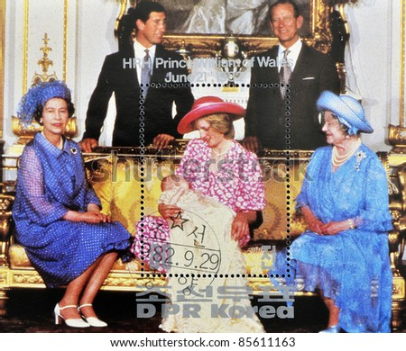 NORTH KOREA - CIRCA 1982: A stamp printed in DPR Korea shows British royal family with Princess Diana of Wales after the birth of Prince William, circa 1982 - stock photo