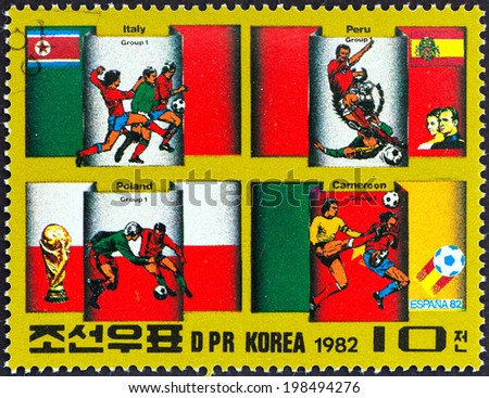 "NORTH KOREA - CIRCA 1982: A stamp printed in North Korea from the ""Football World Cup - Spain "" 3rd issue shows Group 1 Countries, circa 1982.  - stock photo"