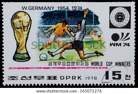 "NORTH KOREA - CIRCA 1978: A Stamp printed in NORTH KOREA shows the Germany world Cup champion (1954, 1974 ) from the series ""World Cup Winners"", circa 1978 - stock photo"