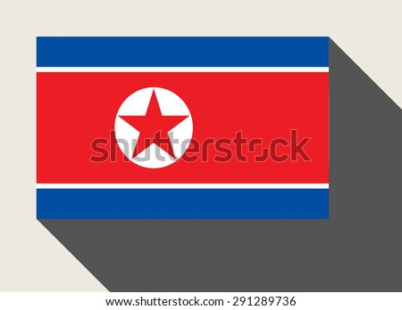 North Korea  flag in flat web design style. - stock photo