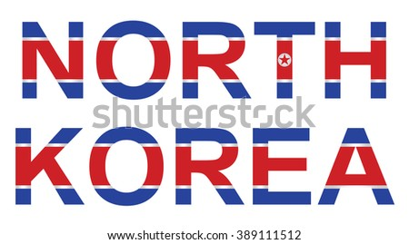 North Korea officially the Democratic Peoples Republic of Korea with flag overlaid on country name text isolated on white background  - stock photo