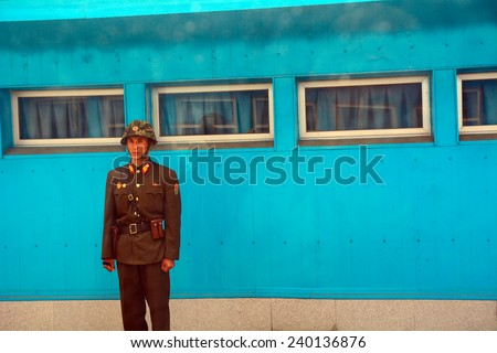 NORTH KOREA, PANMUNJON - JUNE 13: Joint Security Area at June 13, 2014 in Panmunjon, North Korea. Korea is divided in two parts, JSA is the only border place between them. Even it is closed. - stock photo
