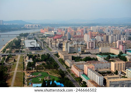 NORTH KOREA, PYONGYANG - JUNE 11: Aerial view of the city at June 11, 2014 in Pyongyang, North Korea. Pyongyang is the capital city of the DPRK. - stock photo