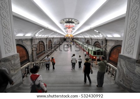 NORTH KOREA, PYONGYANG - SEPTEMBER 20: Subway (metro) at Septemver 20, 2016 in Pyongyang, North Korea. Pyongyang subway stations are decorated with Communist propaganda.