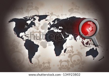 north korean conflict fear background illustration - stock photo