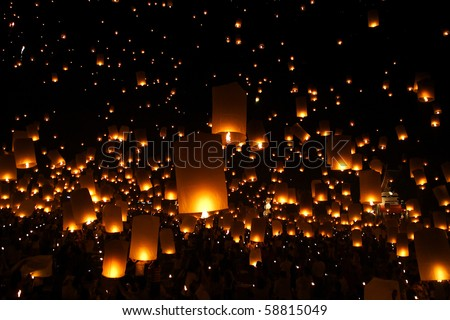 North of Thailand Happy newyear christmas balloon yeepeng traditional at night - stock photo