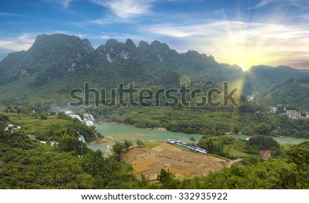 North part of Vietnam Cao Bang province, natural landscape, panoramic picture - stock photo