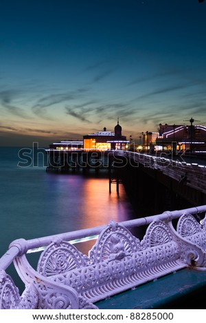 North pier in Blackpool at dusk - stock photo