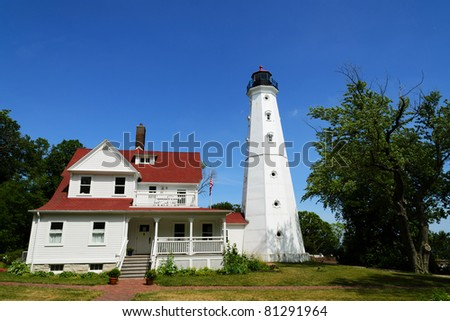 North Point Lighthouse in Milwaukee - stock photo
