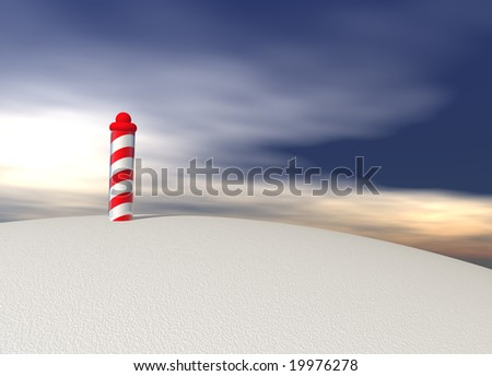 North Pole with Spiral Pattern on Ice with Sky - stock photo