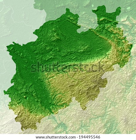 North Rhine-Westphalia, a topographical relief map