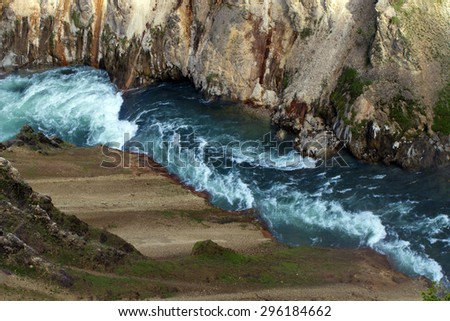 North Rim view of the Grand Canyon of the Yellowstone River - stock photo