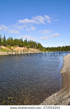 North river on a Sunny summer day. The river of the Polar Urals In the Republic of Komi, Russia. - stock photo