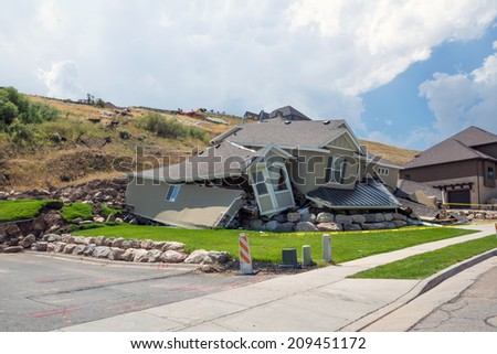 NORTH SALT LAKE (UT) / USA - august 8, 2014: the landslide destroyed a home - stock photo