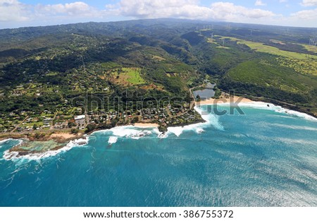 North Shore and Waimea Bay - view from helicopter - Oahu, Hawaii - stock photo