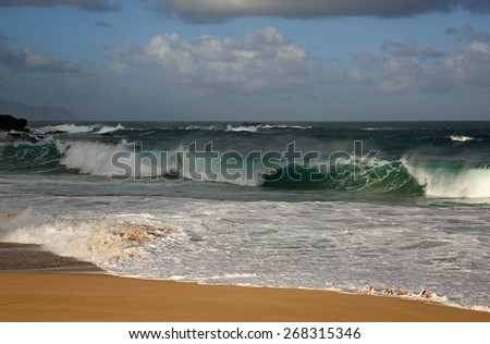 North Shore under clouds - Oahu, Hawaii - stock photo