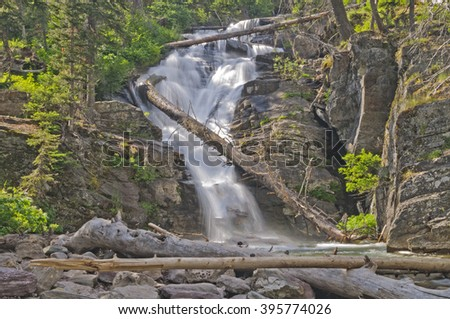 North Twin Falls in Glacier National Park in Montana - stock photo