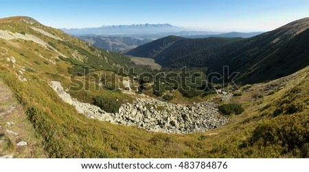 north view from saddle between Bartkova and Orlova in Nizke Tatry mountains in Slovakia