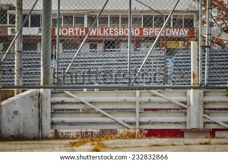 North Wilkesboro, NC - Nov 22, 2014:  North Wilkesboro Speedway was a short track that held races in NASCAR's top three series from NASCAR's inception in 1949 until its closure in 1996.  - stock photo