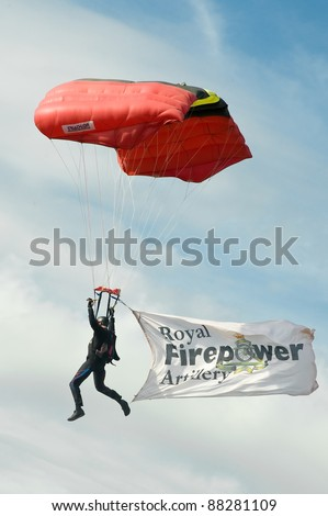 NORTHAMPTONSHIRE, UK - OCT 29: A member of the Black Knights British military parachute display team at the Flame and Thunder event on Oct 29, 2011 at Santa Pod Raceway in Northamptonshire, UK