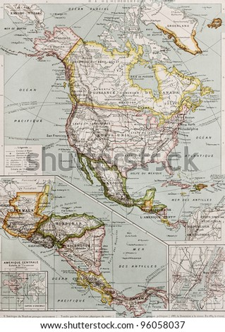 Northern and Central America old map, with New York city insert map. By Paul Vidal de Lablache, Atlas Classique, Librerie Colin, Paris, 1894 (first edition) - stock photo