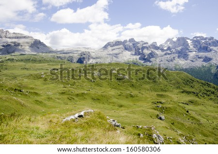 Northern and Central Brenta mountain chains with Passo Groste as seen from Monte Spinale, Brenta Dolomites, Trentino-Alto Adige, Italy