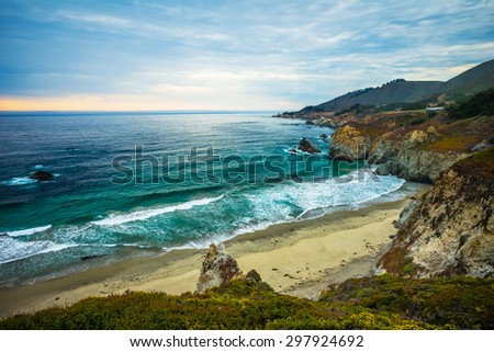 Northern California Coastline, Big Sur, USA.  Sunset taken near Bixby Bridge. - stock photo