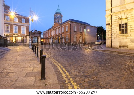 Northern Entrance of Dublin Castle. Twilight long exposure. - stock photo