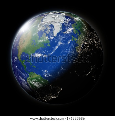 Northern hemisphere on blue planet Earth isolated on black background. Highly detailed planet surface. Elements of this image furnished by NASA.