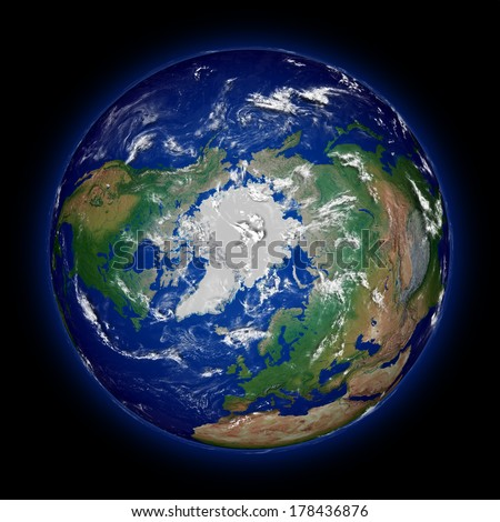 Northern hemisphere on Earth viewed from above north pole isolated on black background. High detail planet surface. Elements of this image furnished by NASA. - stock photo