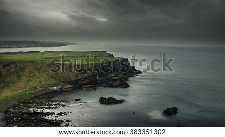 Northern Ireland cliffs - stock photo