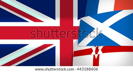 Northern Ireland Scotland France United Kingdom Flag  3D Render