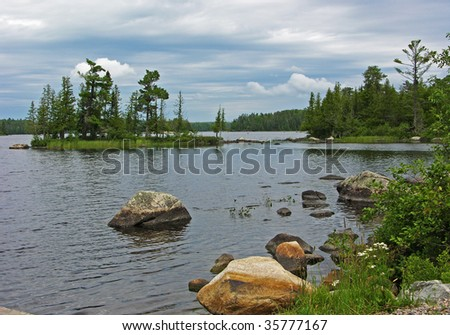Northern Lake in Voyagers national park with rock and flowers in foreground - stock photo