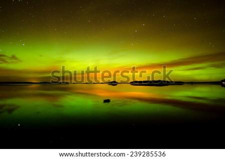 Northern lights (Aurora borealis) in Sweden - stock photo