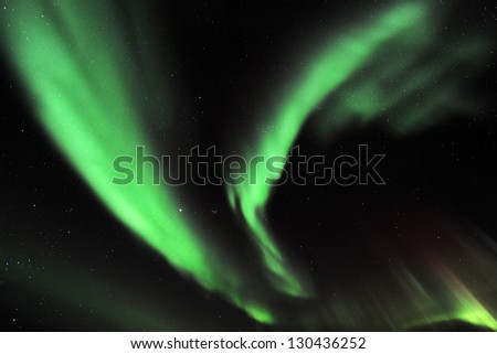 Northern Lights in Sommaroy, Tromso, Norway - stock photo