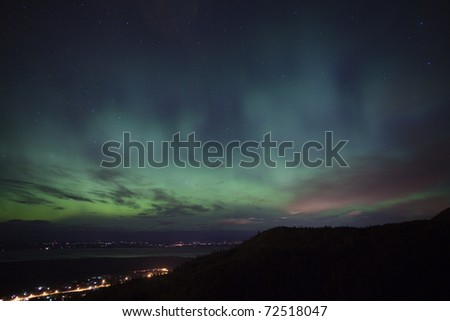 Northern Lights over Mat-Su Valley, AK, USA, October 11, 2010