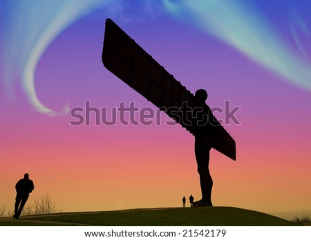 Northern Lights over the Angel Of The North - stock photo