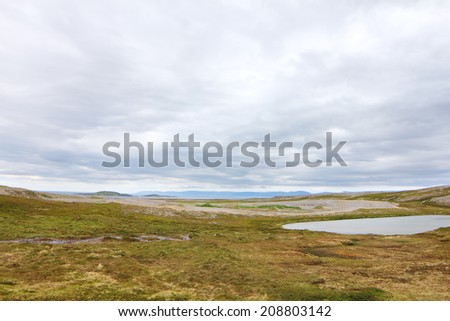 Northern Norwegian landscape with fjords, mountains and shore with moss - stock photo