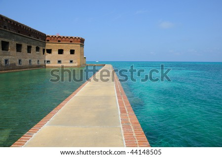 Northern Side of Fort Jefferson on Dry Tortugas National Park - stock photo