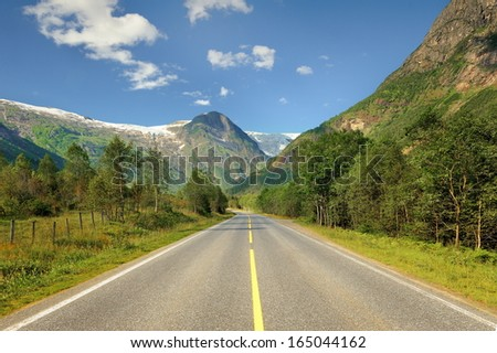 Northern Sweden, view of the ice-covered mountains - stock photo