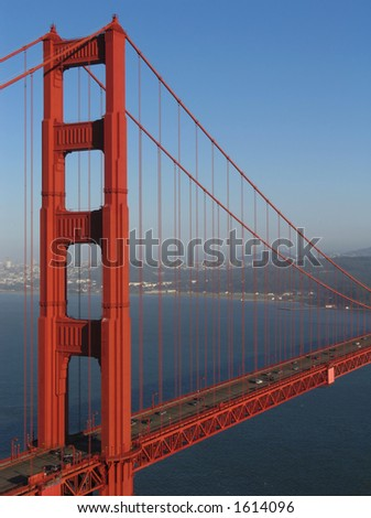 Northern tower of the Golden Gate Bridge in San Francisco, California, view from Marin Headlands toward the city.