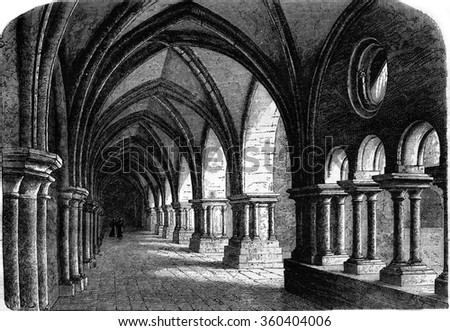Northern wing of the cloister of the abbey of Luxeuil, vintage engraved illustration. Magasin Pittoresque 1869.